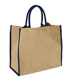 Grand sac shopping en jute avec décors bleu
