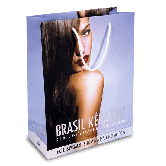 Exemple de sac en papier luxe type manuel pour Brasil Kératine